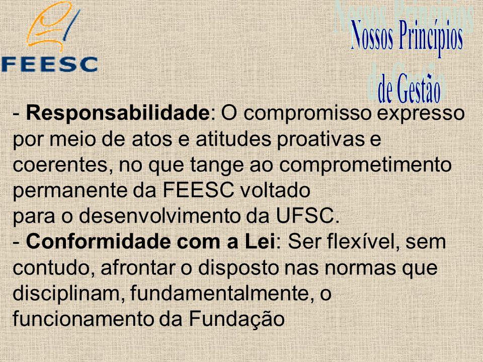 - Responsabilidade: O compromisso expresso por meio de atos e atitudes proativas e coerentes, no que tange ao comprometimento permanente da FEESC volt