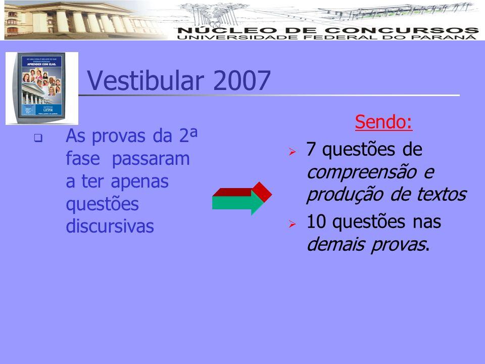 Vestibular 2007 As provas da 2ª fase passaram a ter apenas questões discursivas Sendo: 7 questões de compreensão e produção de textos 10 questões nas