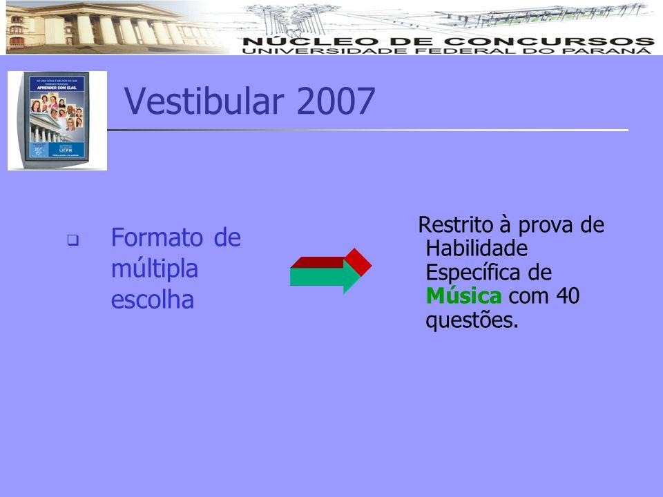 Vestibular 2007 Formato de múltipla escolha Restrito à prova de Habilidade Específica de Música com 40 questões.
