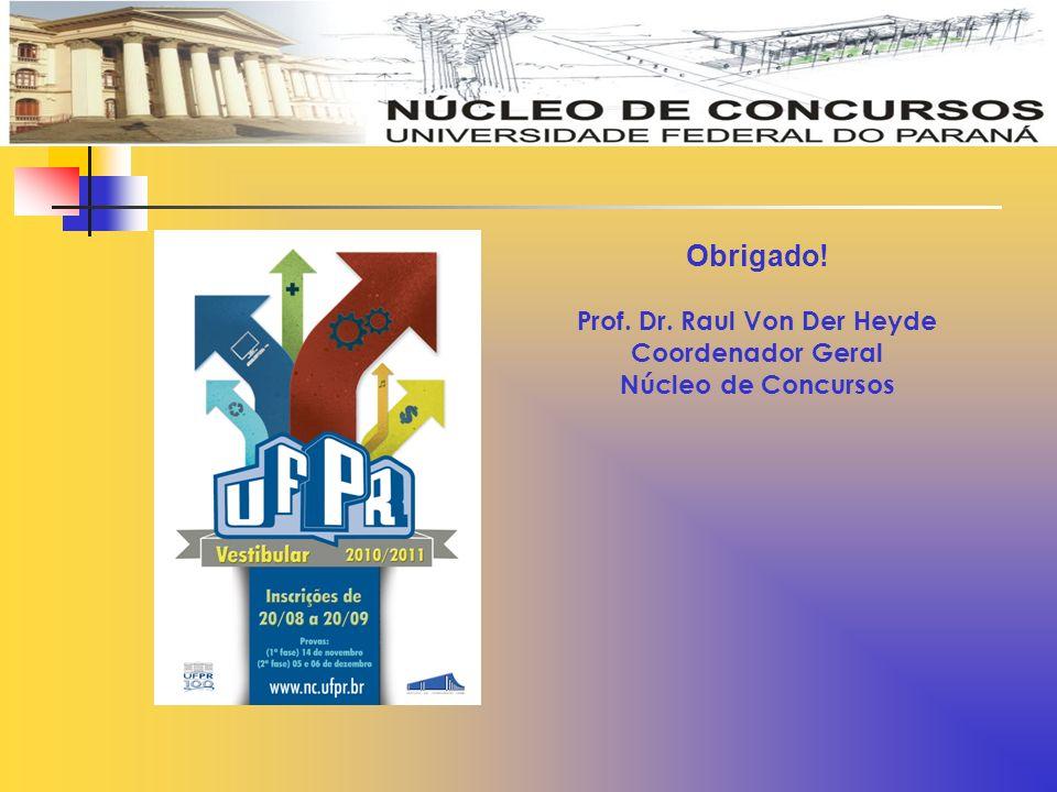 Obrigado! Prof. Dr. Raul Von Der Heyde Coordenador Geral Núcleo de Concursos