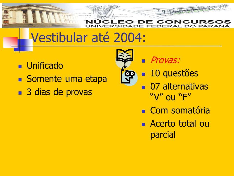 Vestibular até 2004: Unificado Somente uma etapa 3 dias de provas Provas: 10 questões 07 alternativas V ou F Com somatória Acerto total ou parcial
