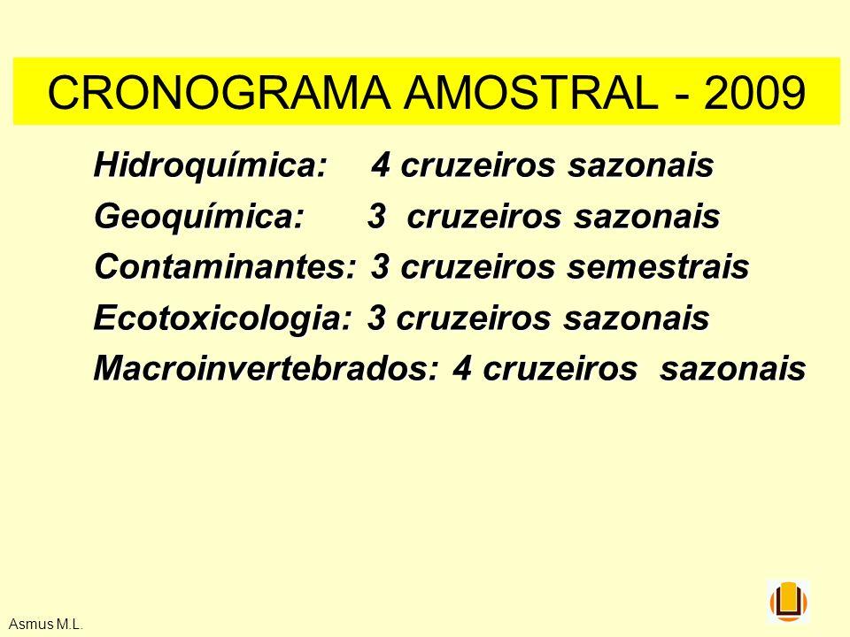 Asmus M.L. Hidroquímica: 4 cruzeiros sazonais Geoquímica: 3 cruzeiros sazonais Contaminantes: 3 cruzeiros semestrais Ecotoxicologia: 3 cruzeiros sazon