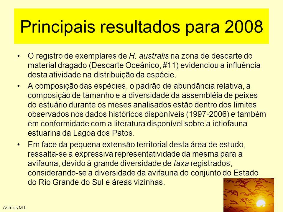 Asmus M.L. Principais resultados para 2008 O registro de exemplares de H. australis na zona de descarte do material dragado (Descarte Oceânico, #11) e
