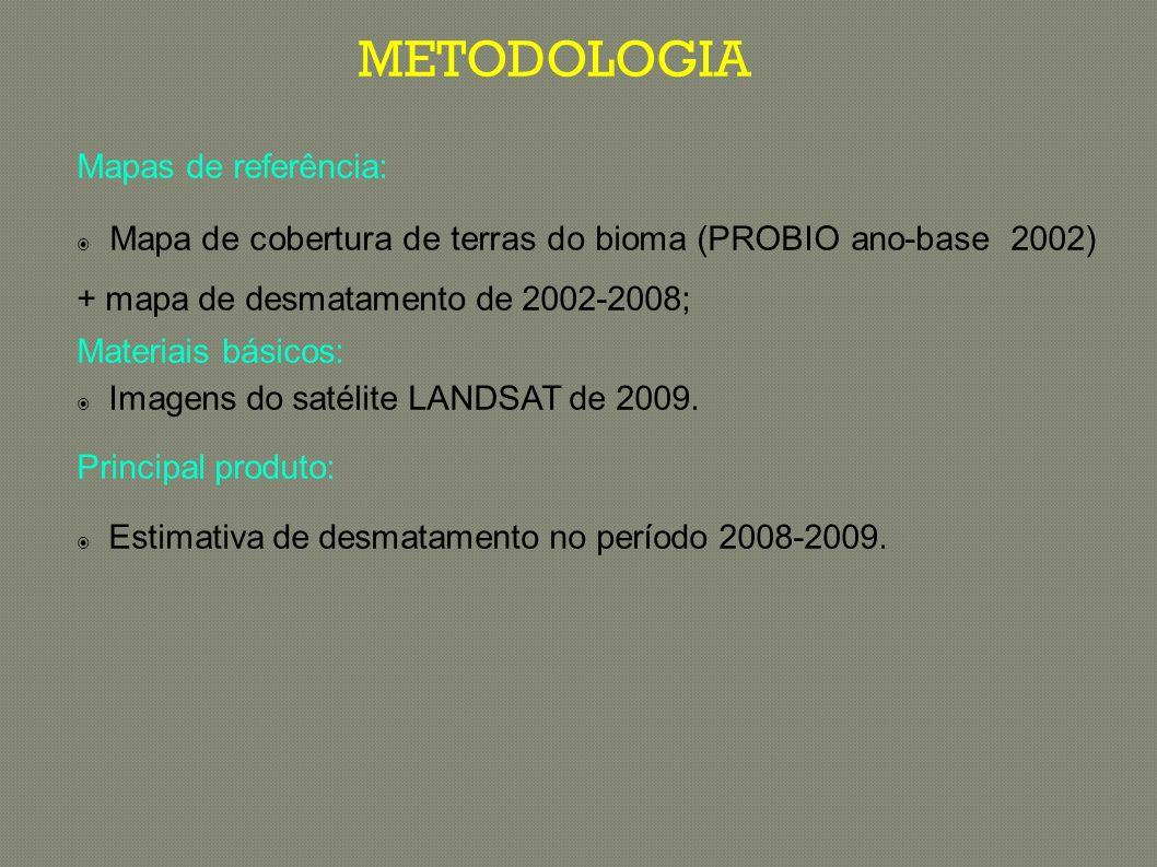 Máscara com desmatamentos antigos (anterior a 2009) Identificação de novas áreas desmatadas IDENTIFICAÇÃO DE DESMATAMENTO NA IMAGEM LANDSAT DE 2009