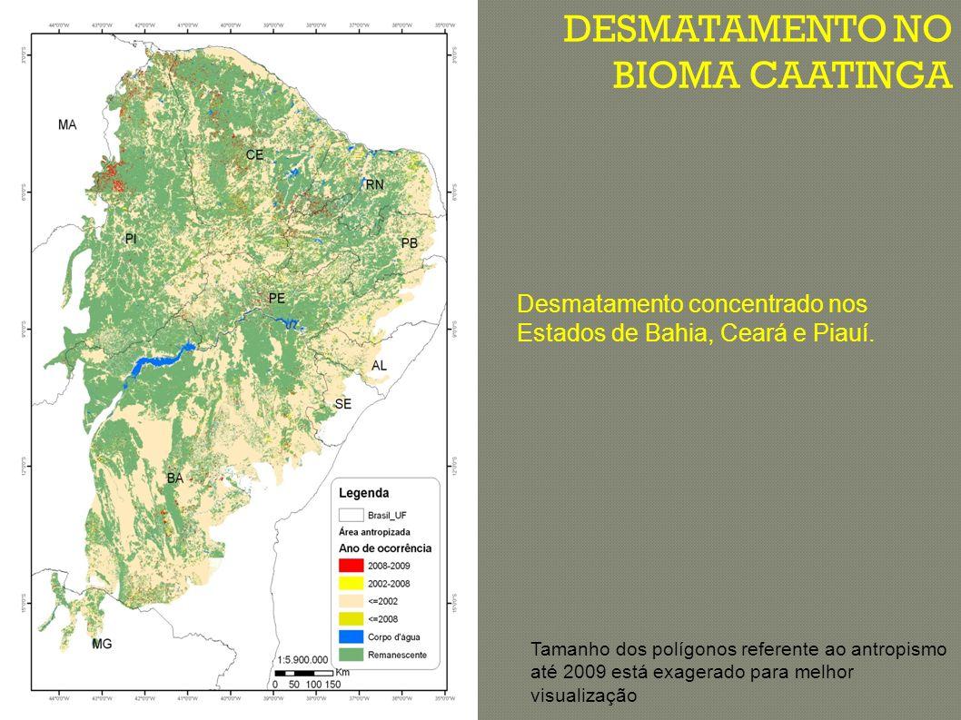 HISTÓRICO DE DESMATAMENTO NA CAATINGA ÁREA DO CAATINGA: 826.411km 2 ÁREA DESMATADA (2002-2008): 14.113,59 km 2 (2.352,26 km 2 /ano; taxa média de 0,28% ano) ÁREA DESMATADA (2008-2009): 1.921 km 2 (equivalente a 0,23%/ano) ClasseAté 2002 (%)Até 2008 (%)Até 2009 (%) Área desmatada43,745,445,6 Área Remanescente 55,753,653,4 Corpos dágua111