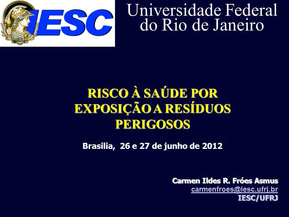 Universidade Federal do Rio de Janeiro Carmen Ildes R. Fróes Asmus carmenfroes@iesc.ufrj.brIESC/UFRJ RISCO À SAÚDE POR EXPOSIÇÃO A RESÍDUOS PERIGOSOS