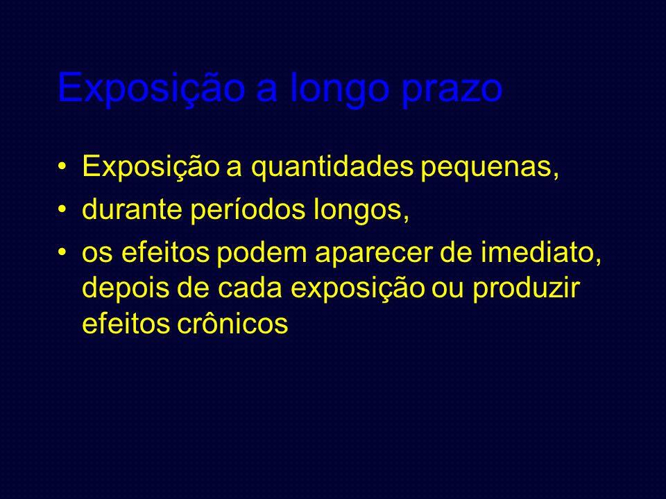 Exposição a longo prazo Exposição a quantidades pequenas, durante períodos longos, os efeitos podem aparecer de imediato, depois de cada exposição ou produzir efeitos crônicos