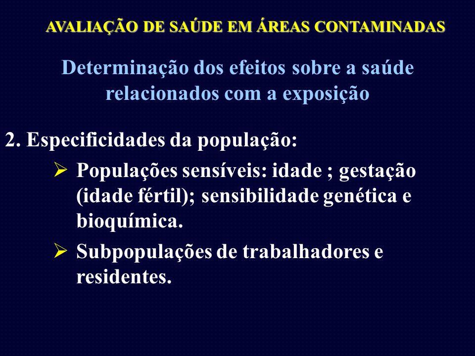 AVALIAÇÃO DE SAÚDE EM ÁREAS CONTAMINADAS Determinação dos efeitos sobre a saúde relacionados com a exposição 2. Especificidades da população: Populaçõ