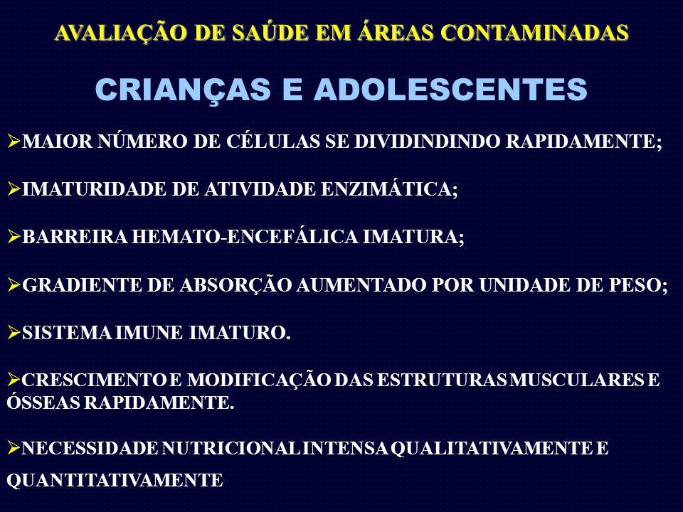 CRIANÇAS E ADOLESCENTES MAIOR NÚMERO DE CÉLULAS SE DIVIDINDINDO RAPIDAMENTE; IMATURIDADE DE ATIVIDADE ENZIMÁTICA; BARREIRA HEMATO-ENCEFÁLICA IMATURA;