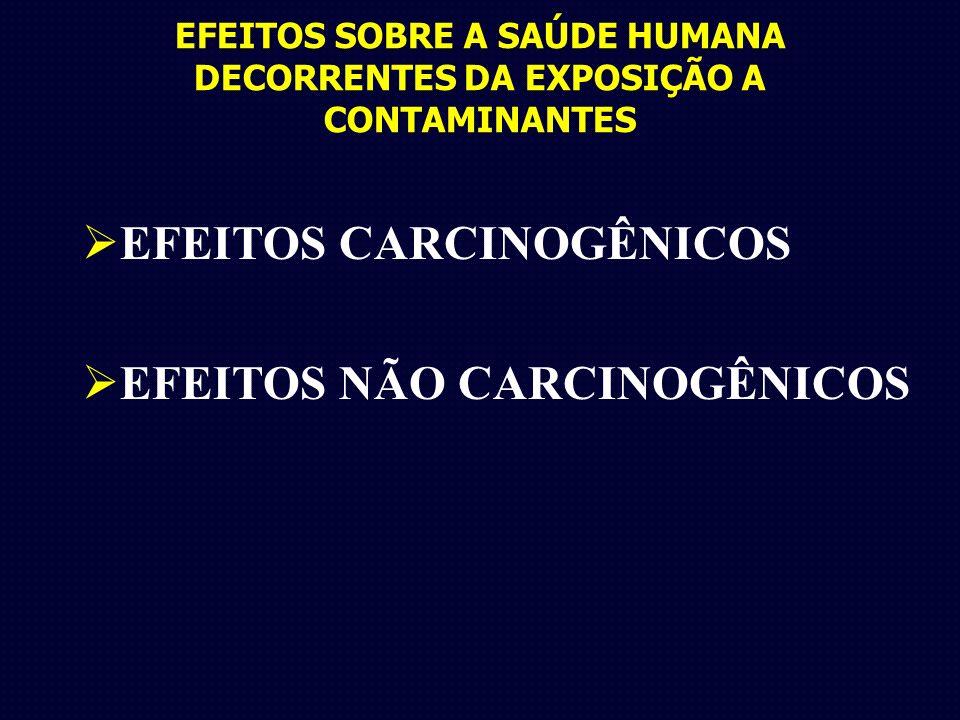 EFEITOS SOBRE A SAÚDE HUMANA DECORRENTES DA EXPOSIÇÃO A CONTAMINANTES EFEITOS CARCINOGÊNICOS EFEITOS NÃO CARCINOGÊNICOS