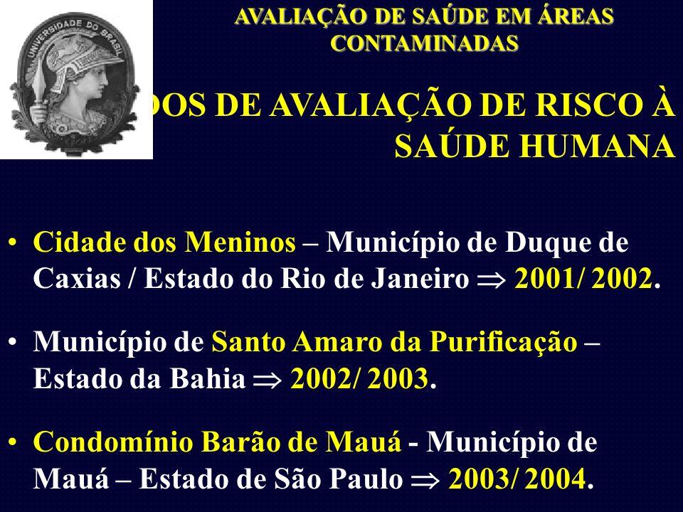 ESTUDOS DE AVALIAÇÃO DE RISCO À SAÚDE HUMANA Cidade dos Meninos – Município de Duque de Caxias / Estado do Rio de Janeiro 2001/ 2002.