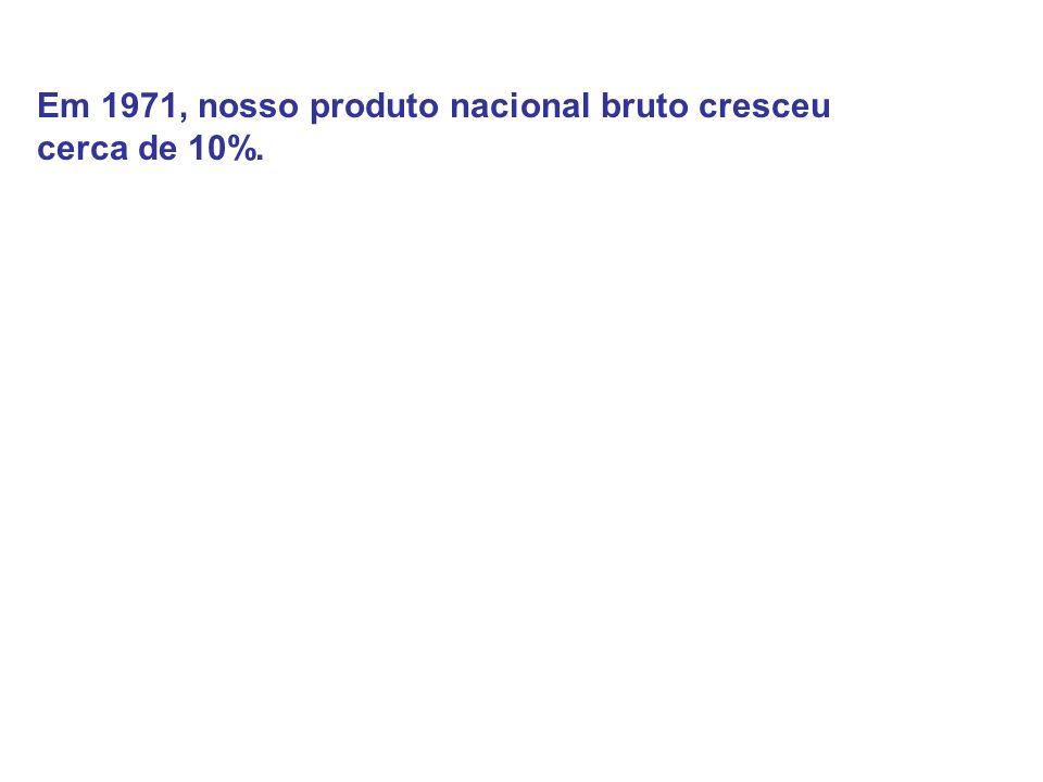 Em 1971, nosso produto nacional bruto cresceu cerca de 10%.