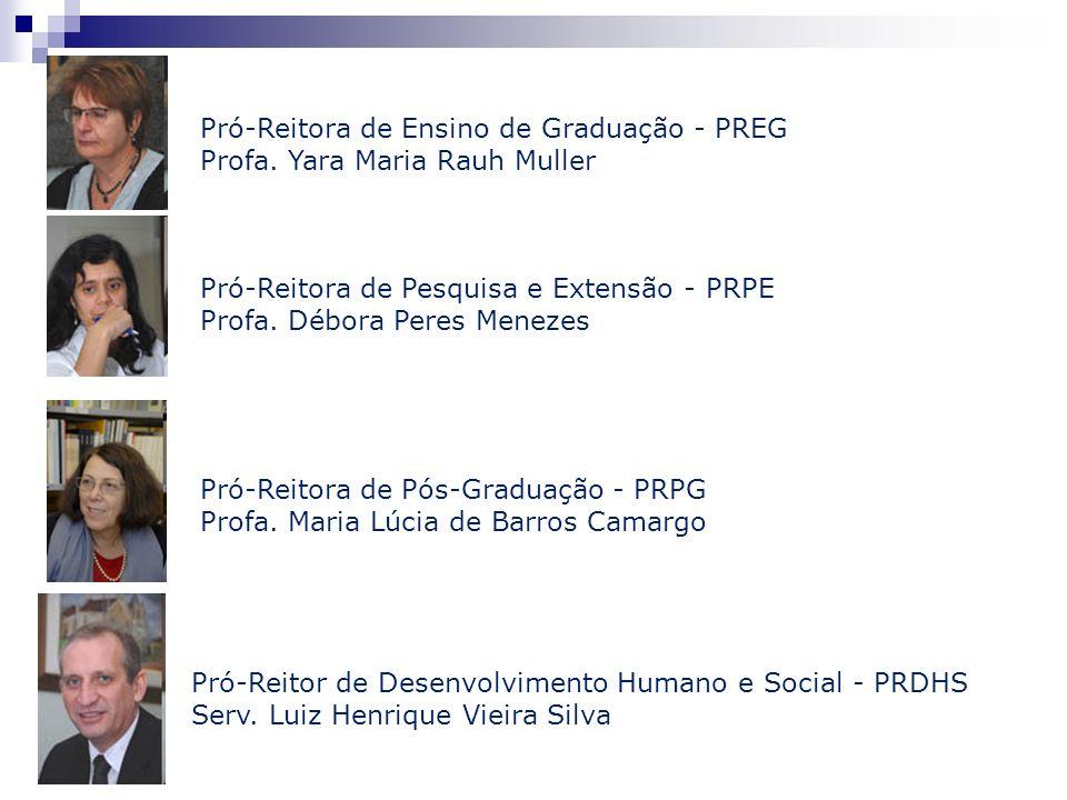 Pró-Reitora de Ensino de Graduação - PREG Profa. Yara Maria Rauh Muller Pró-Reitora de Pesquisa e Extensão - PRPE Profa. Débora Peres Menezes Pró-Reit