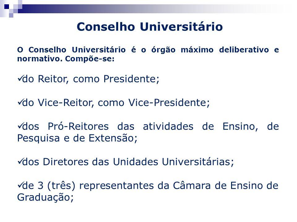 O Conselho Universitário é o órgão máximo deliberativo e normativo. Compõe-se: do Reitor, como Presidente; do Vice-Reitor, como Vice-Presidente; dos P
