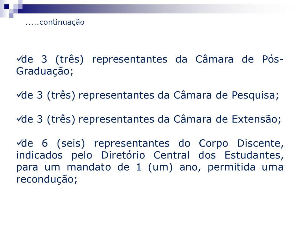 de 3 (três) representantes da Câmara de Pós- Graduação; de 3 (três) representantes da Câmara de Pesquisa; de 3 (três) representantes da Câmara de Exte