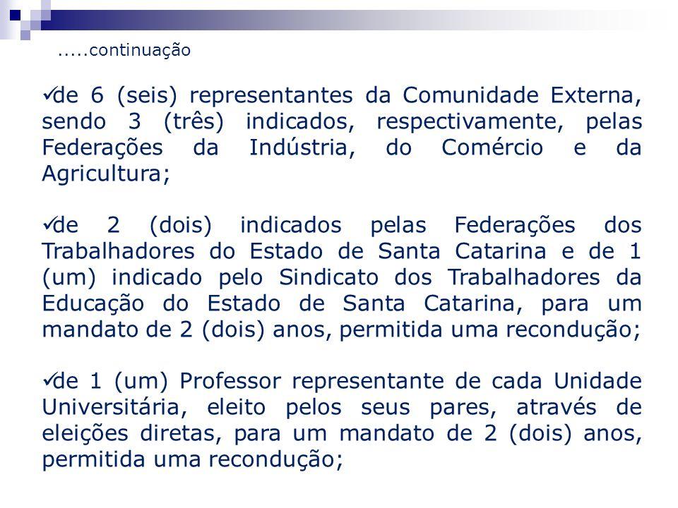 de 6 (seis) representantes da Comunidade Externa, sendo 3 (três) indicados, respectivamente, pelas Federações da Indústria, do Comércio e da Agricultu