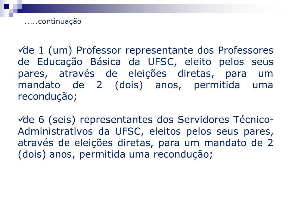 de 1 (um) Professor representante dos Professores de Educação Básica da UFSC, eleito pelos seus pares, através de eleições diretas, para um mandato de