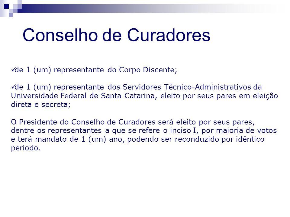 de 1 (um) representante do Corpo Discente; de 1 (um) representante dos Servidores Técnico-Administrativos da Universidade Federal de Santa Catarina, e