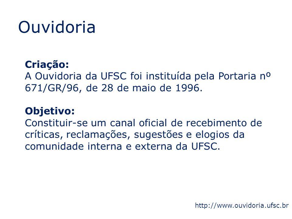 Ouvidoria Criação: A Ouvidoria da UFSC foi instituída pela Portaria nº 671/GR/96, de 28 de maio de 1996. Objetivo: Constituir-se um canal oficial de r