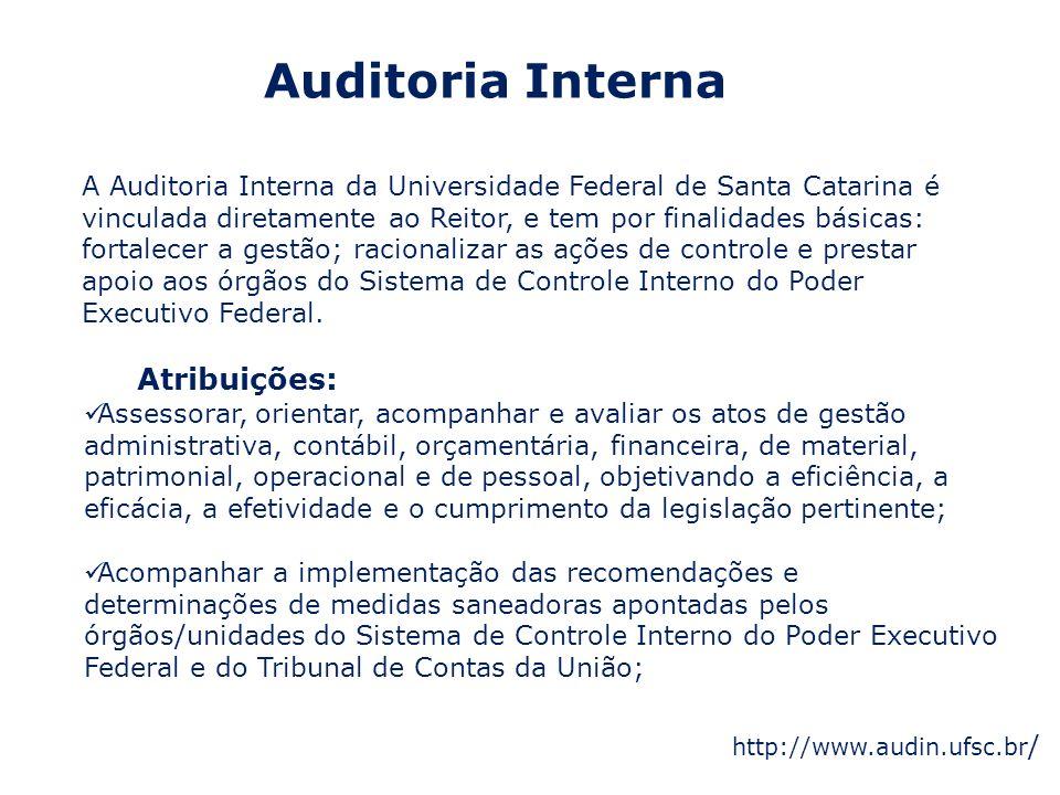Auditoria Interna A Auditoria Interna da Universidade Federal de Santa Catarina é vinculada diretamente ao Reitor, e tem por finalidades básicas: fort
