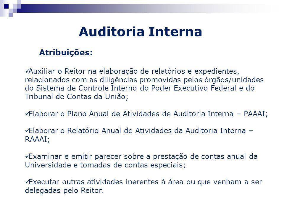Auditoria Interna Atribuições: Auxiliar o Reitor na elaboração de relatórios e expedientes, relacionados com as diligências promovidas pelos órgãos/un