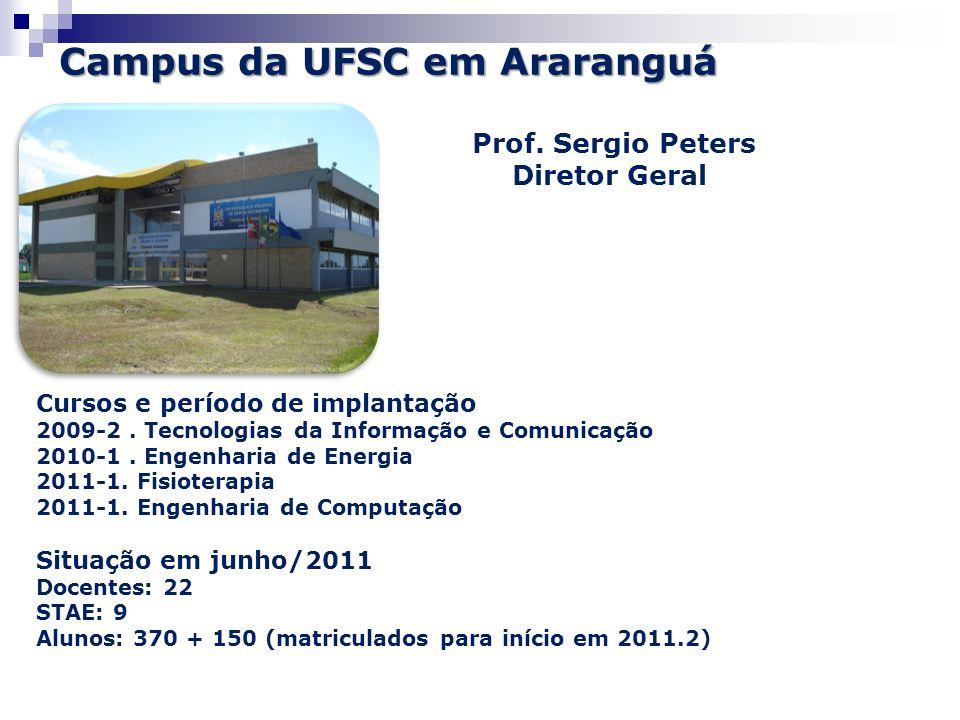 Campus da UFSC em Araranguá Prof. Sergio Peters Diretor Geral Cursos e período de implantação 2009-2. Tecnologias da Informação e Comunicação 2010-1.