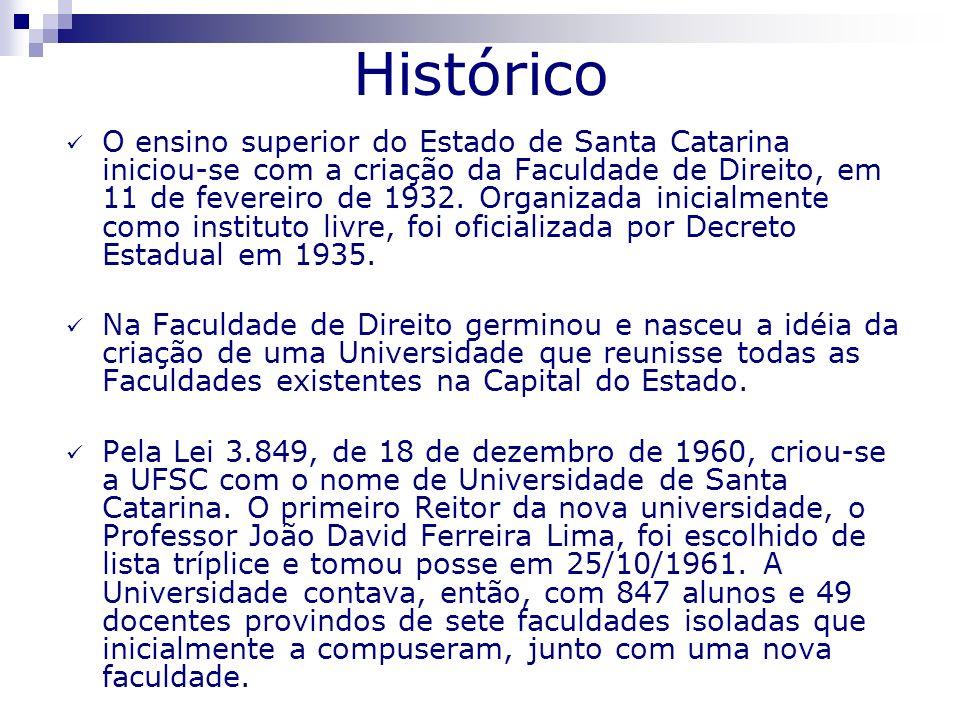 Histórico Criou-se a Universidade de Santa Catarina, reunindo as Faculdades de Direito, Medicina, Farmácia, Odontologia, Filosofia, Ciências Econômicas, Serviço Social e Escola de Engenharia Industrial, sendo oficialmente instalada em 12 de março de 1962.