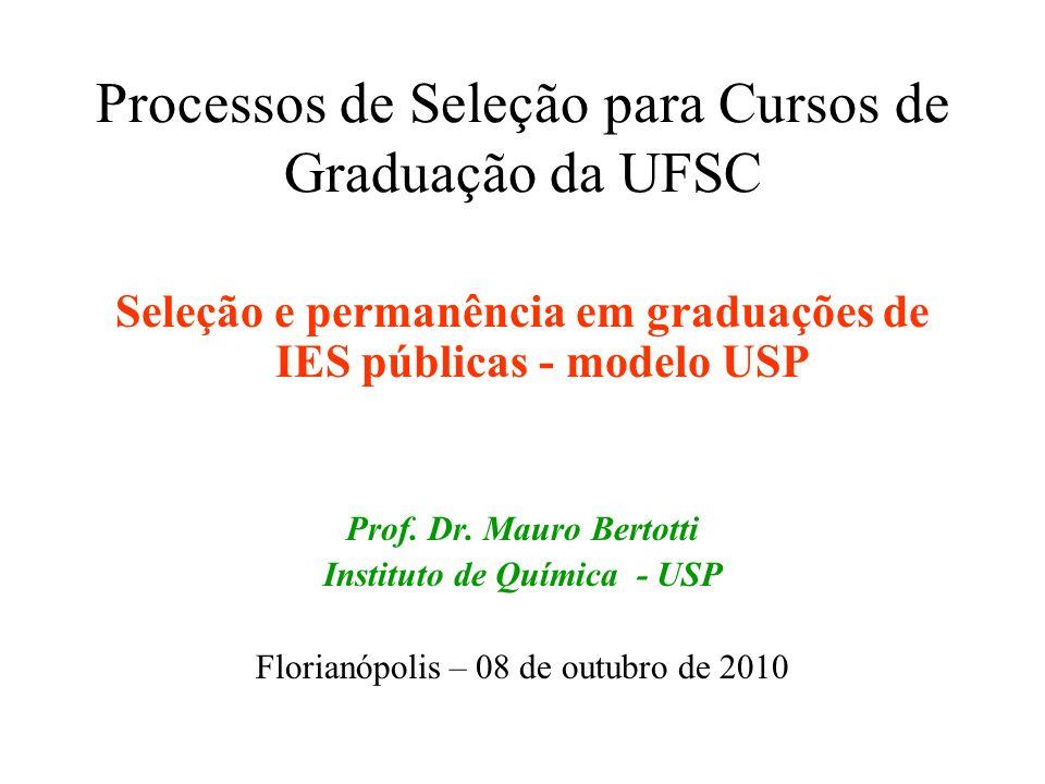 Processos de Seleção para Cursos de Graduação da UFSC Seleção e permanência em graduações de IES públicas - modelo USP Prof. Dr. Mauro Bertotti Instit