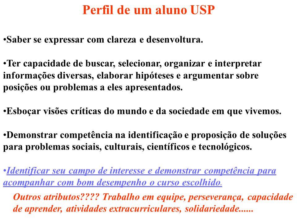 Perfil de um aluno USP Saber se expressar com clareza e desenvoltura. Ter capacidade de buscar, selecionar, organizar e interpretar informações divers