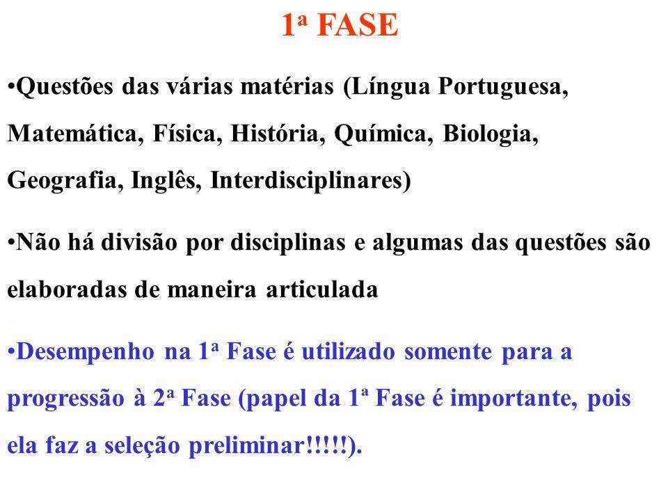 1 a FASE Questões das várias matérias (Língua Portuguesa, Matemática, Física, História, Química, Biologia, Geografia, Inglês, Interdisciplinares) Não
