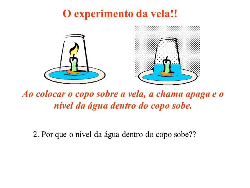 O experimento da vela!! 2. Por que o nível da água dentro do copo sobe?? Ao colocar o copo sobre a vela, a chama apaga e o nível da água dentro do cop