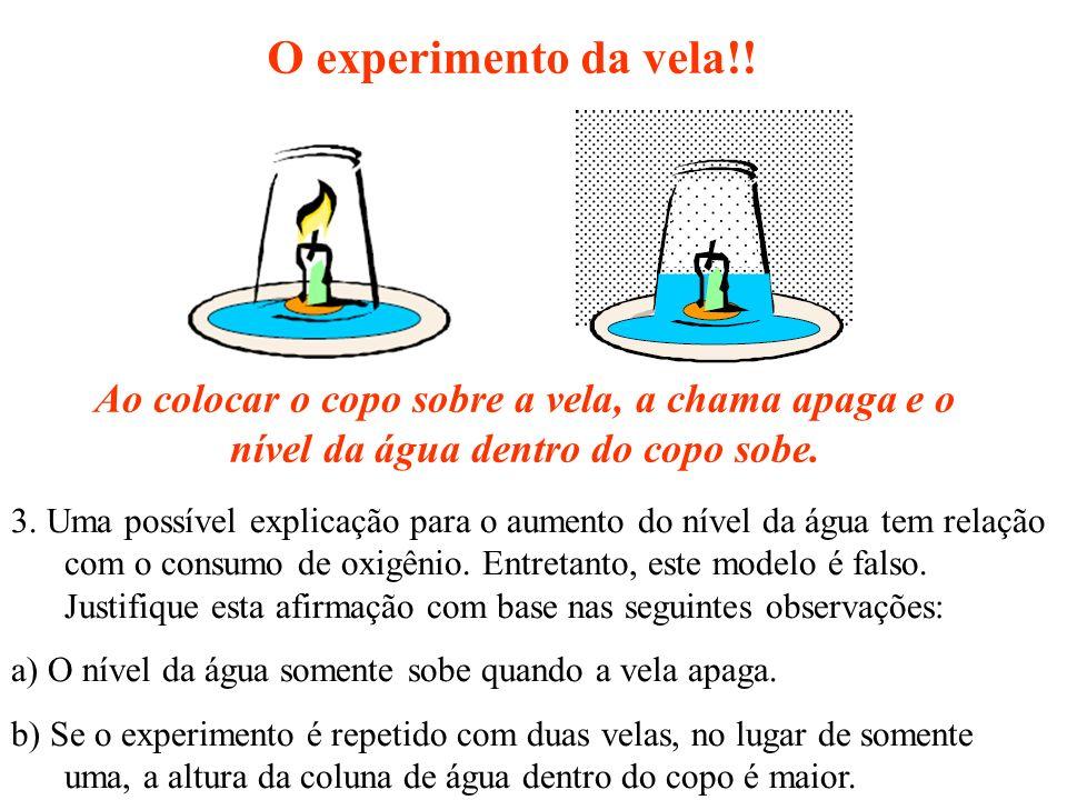 O experimento da vela!! Ao colocar o copo sobre a vela, a chama apaga e o nível da água dentro do copo sobe. 3. Uma possível explicação para o aumento