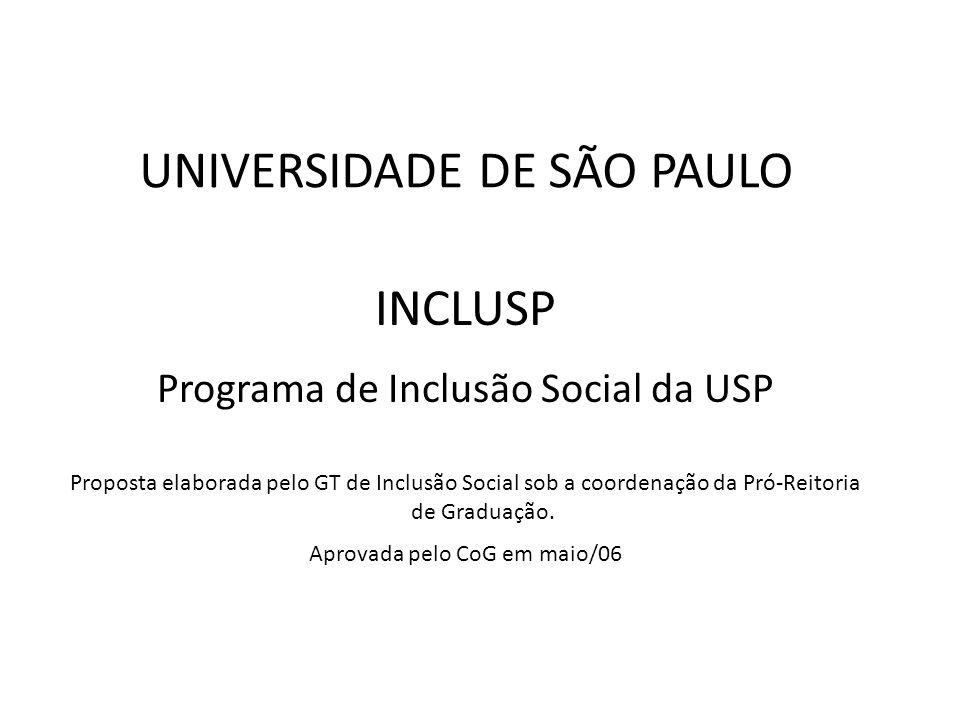 INCLUSP Programa de Inclusão Social da USP Proposta elaborada pelo GT de Inclusão Social sob a coordenação da Pró-Reitoria de Graduação. Aprovada pelo