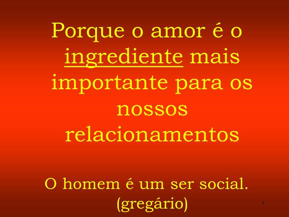 3 Porque o amor é o ingrediente mais importante para os nossos relacionamentos O homem é um ser social. (gregário)
