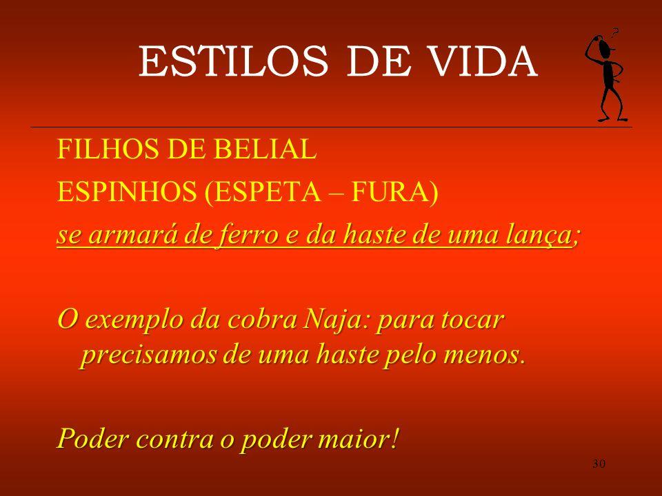 30 ESTILOS DE VIDA FILHOS DE BELIAL ESPINHOS (ESPETA – FURA) se armará de ferro e da haste de uma lança; O exemplo da cobra Naja: para tocar precisamo