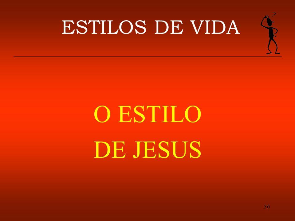 36 ESTILOS DE VIDA O ESTILO DE JESUS