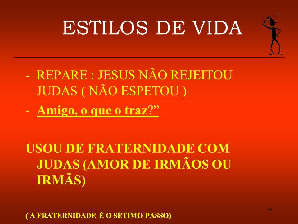 38 ESTILOS DE VIDA -REPARE : JESUS NÃO REJEITOU JUDAS ( NÃO ESPETOU ) -Amigo, o que o traz? USOU DE FRATERNIDADE COM JUDAS (AMOR DE IRMÃOS OU IRMÃS) (