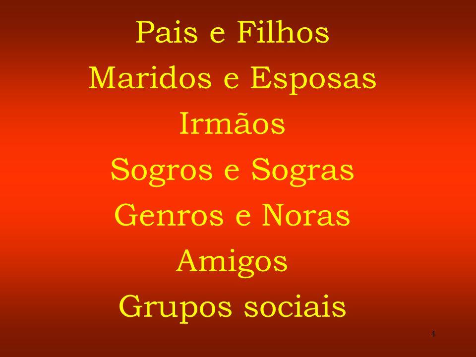 4 Pais e Filhos Maridos e Esposas Irmãos Sogros e Sogras Genros e Noras Amigos Grupos sociais