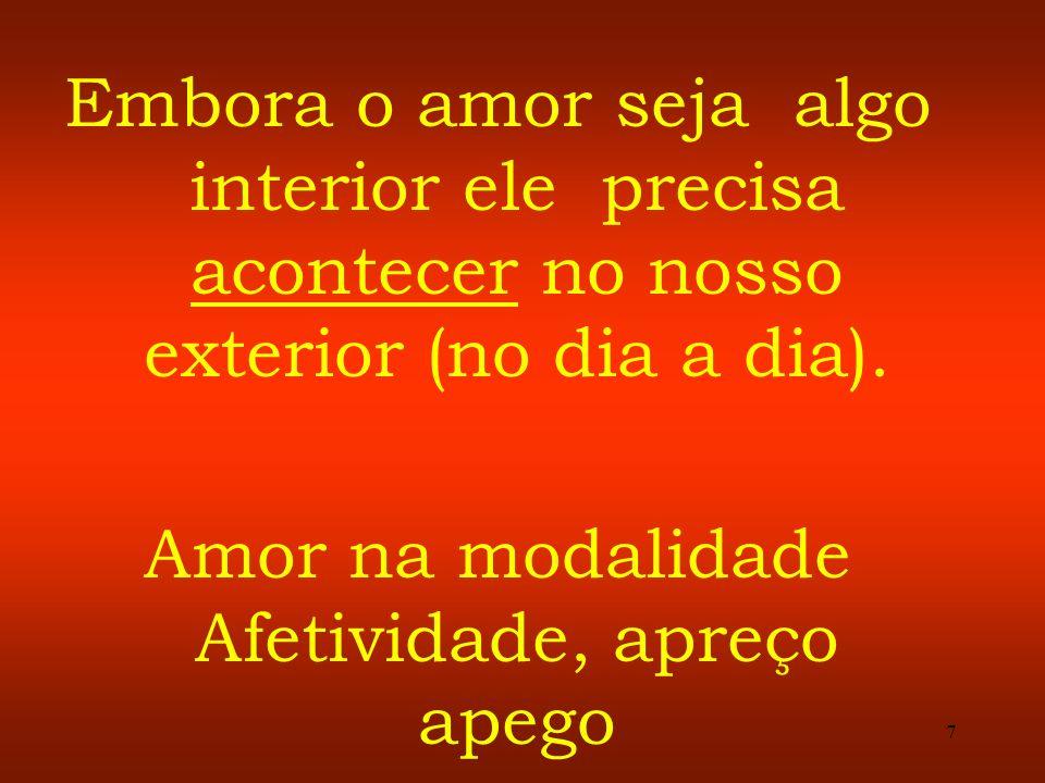 7 Embora o amor seja algo interior ele precisa acontecer no nosso exterior (no dia a dia). Amor na modalidade Afetividade, apreço apego