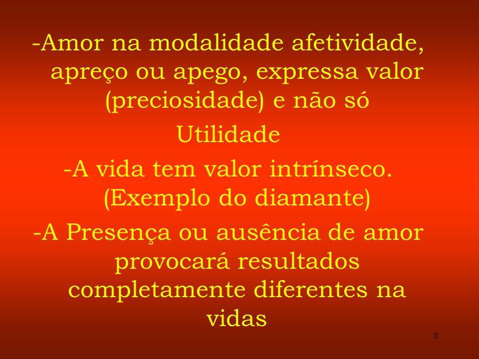 8 -Amor na modalidade afetividade, apreço ou apego, expressa valor (preciosidade) e não só Utilidade -A vida tem valor intrínseco. (Exemplo do diamant