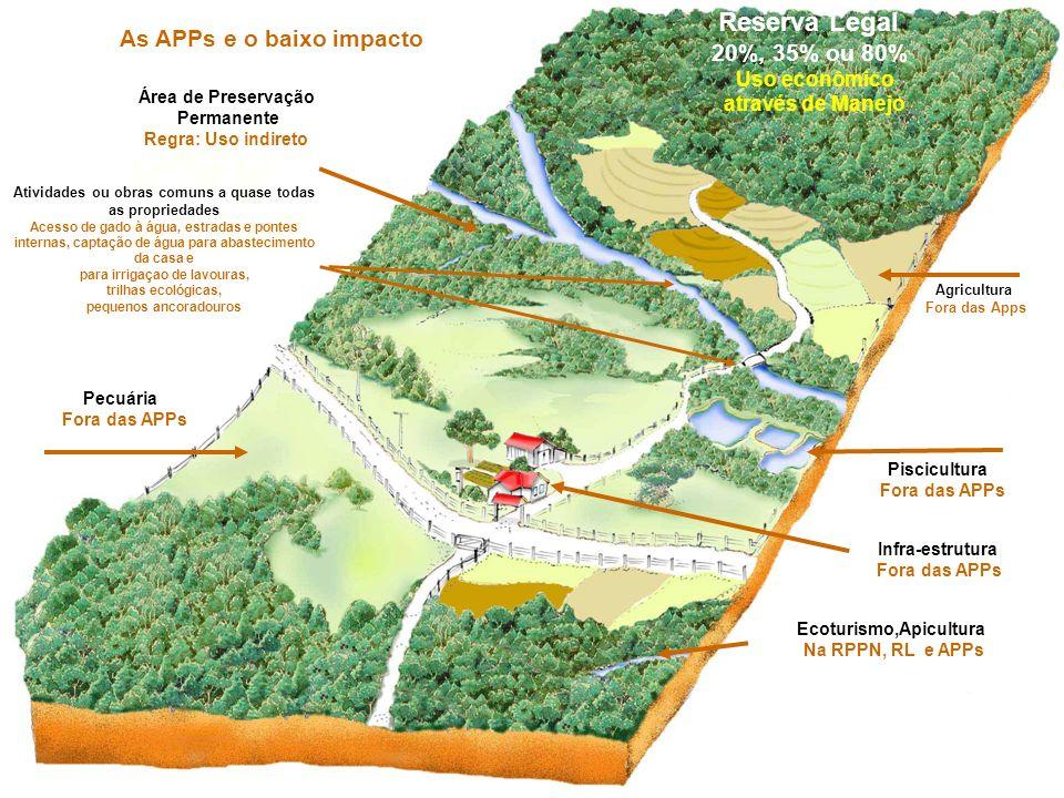 Reserva Legal 20%, 35% ou 80% Uso econômico através de Manejo Área de Preservação Permanente Regra: Uso indireto Pecuária Fora das APPs Piscicultura F
