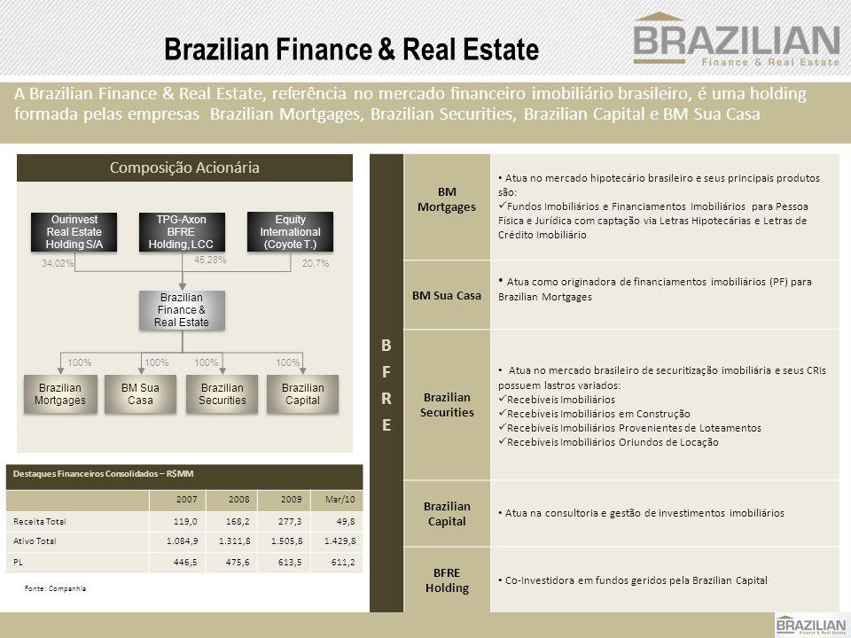 2 Brazilian Finance & Real Estate A Brazilian Finance & Real Estate, referência no mercado financeiro imobiliário brasileiro, é uma holding formada pe