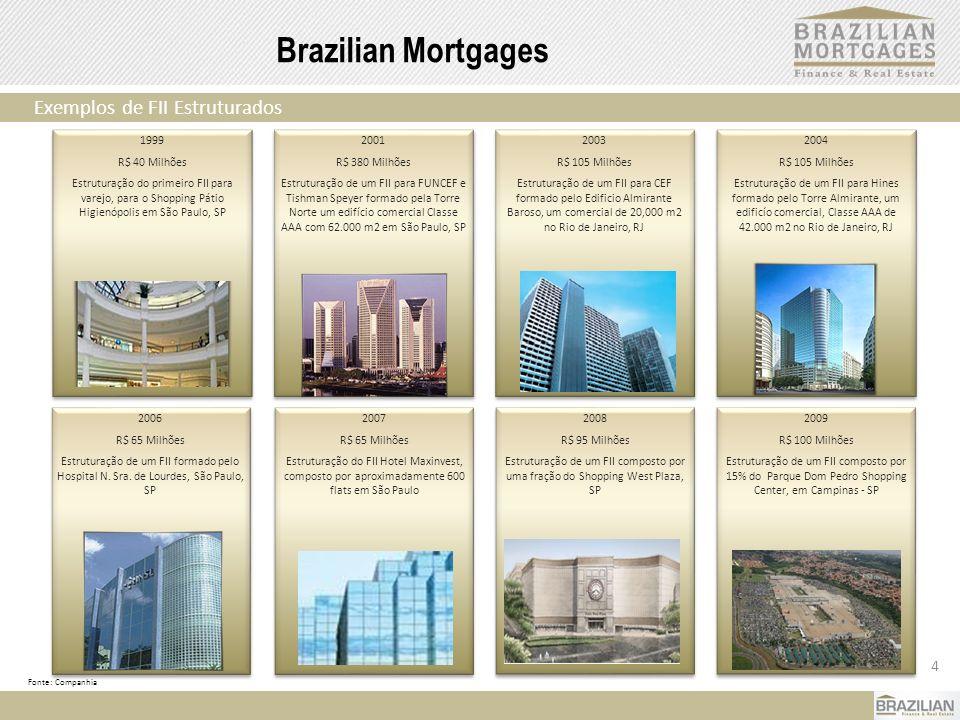 4 Brazilian Mortgages Exemplos de FII Estruturados Fonte: Companhia 2004 R$ 105 Milhões Estruturação de um FII para Hines formado pelo Torre Almirante