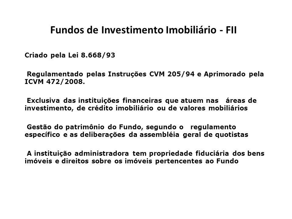 Fundos de Investimento Imobiliário - FII Criado pela Lei 8.668/93 Regulamentado pelas Instruções CVM 205/94 e Aprimorado pela ICVM 472/2008. Exclusiva