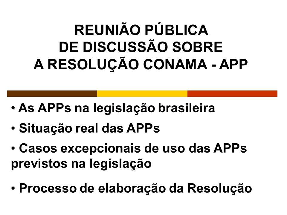 As APPs na legislação brasileira Situação real das APPs Casos excepcionais de uso das APPs previstos na legislação Processo de elaboração da Resolução