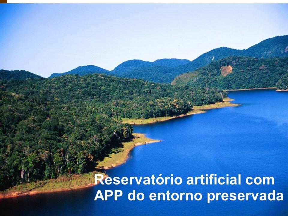 Reservatório artificial com APP do entorno preservada