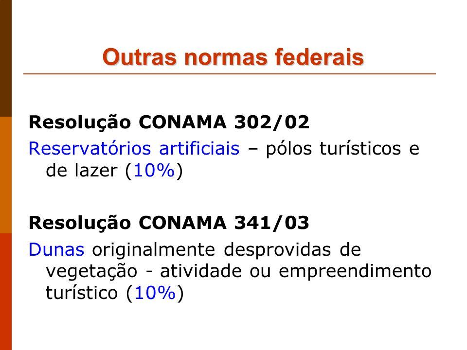 Outras normas federais Resolução CONAMA 302/02 Reservatórios artificiais – pólos turísticos e de lazer (10%) Resolução CONAMA 341/03 Dunas originalmen