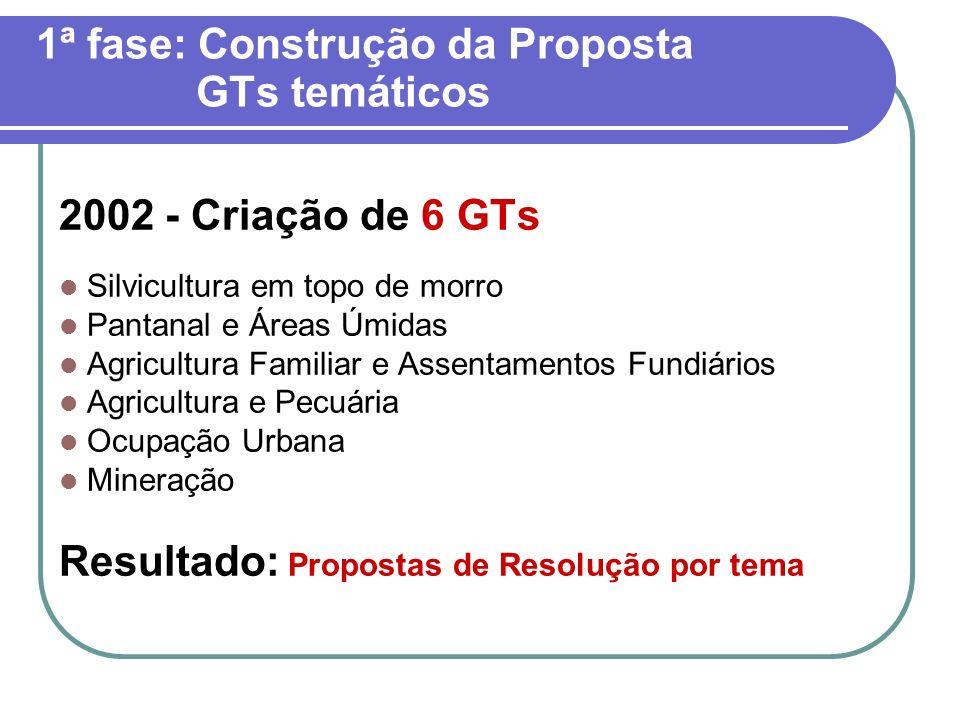 1ª fase: Construção da Proposta GTs temáticos 2002 - Criação de 6 GTs Silvicultura em topo de morro Pantanal e Áreas Úmidas Agricultura Familiar e Ass
