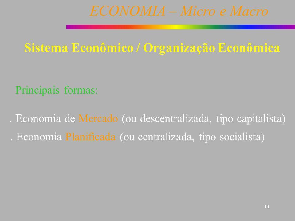 ECONOMIA – Micro e Macro 11 Sistema Econômico / Organização Econômica Principais formas:. Economia de Mercado (ou descentralizada, tipo capitalista).