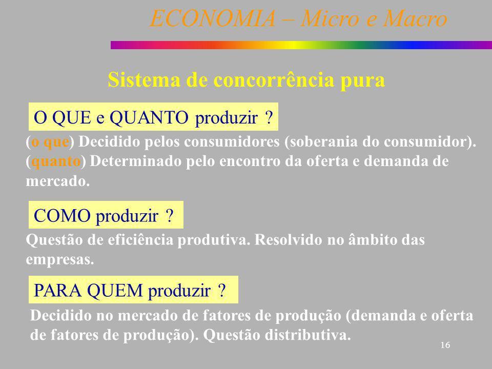ECONOMIA – Micro e Macro 16 Sistema de concorrência pura O QUE e QUANTO produzir ? (o que) Decidido pelos consumidores (soberania do consumidor). (qua